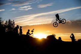 mountain-biker-makken-haugen-whip-in-the-sunet-at-red-bull-rampage-2013