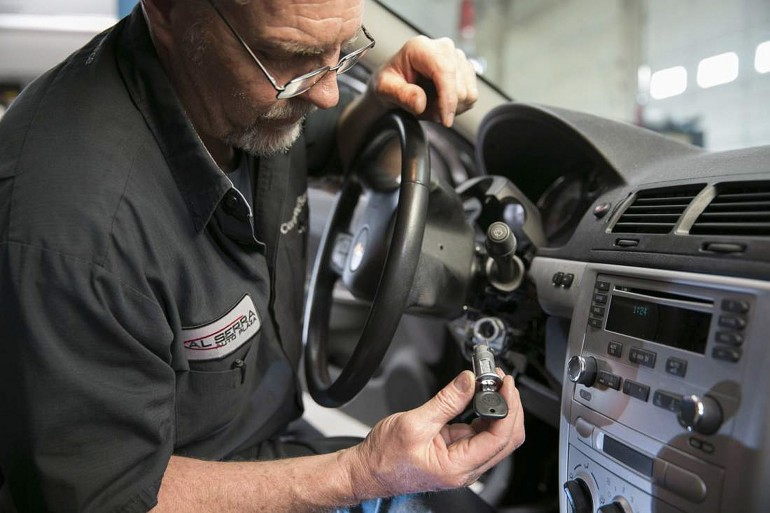 "Gary Pittam performs a recall service on a Chevrolet Cobalt at Al Serra Chevrolet in Grand Blanc, Michigan, April 17, 2014.  General Motors Co on April 23, 2014, said it has shipped ""thousands"" of kits needed to repair the defective ignition switches linked to at least 13 deaths. Picture taken April 17, 2014. REUTERS/John F. Martin/General Motors/Handout via Reuters  (UNITED STATES - Tags: TRANSPORT SOCIETY) ATTENTION EDITORS - THIS PICTURE WAS PROVIDED BY A THIRD PARTY. REUTERS IS UNABLE TO INDEPENDENTLY VERIFY THE AUTHENTICITY, CONTENT, LOCATION OR DATE OF THIS IMAGE. FOR EDITORIAL USE ONLY. NOT FOR SALE FOR MARKETING OR ADVERTISING CAMPAIGNS. NO SALES. NO ARCHIVES. THIS PICTURE IS DISTRIBUTED EXACTLY AS RECEIVED BY REUTERS, AS A SERVICE TO CLIENTS"