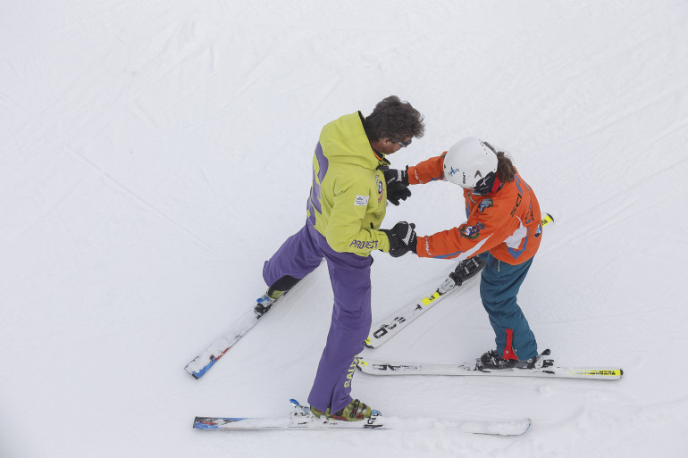 Ski activities in Abetone Val di Luce ski area. BMW Sciabile Project for Dynamo Camp