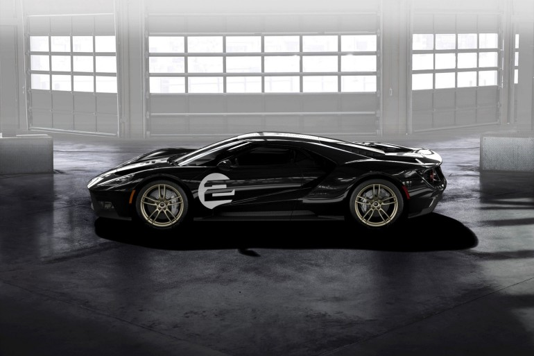 All-new Ford GT '66 Heritage Edition with unique black and silver-stripe livery celebrates 1966 Le Mans-winning GT40 Mark II race car driven by Bruce McLaren and Chris Amon