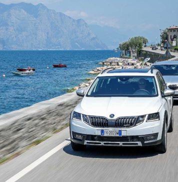 Skoda Octavia Wagon 2017 gamma movimento anteriore sfondo lago