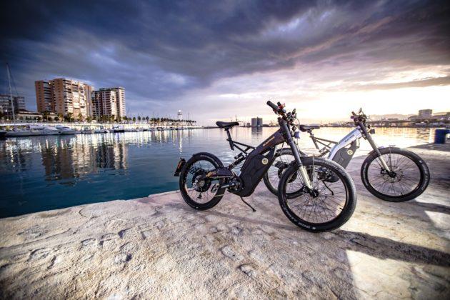 bicicletta elettrica bultaco albero, due modelli argento e marrone, foto statica vista tre quarti anteriore