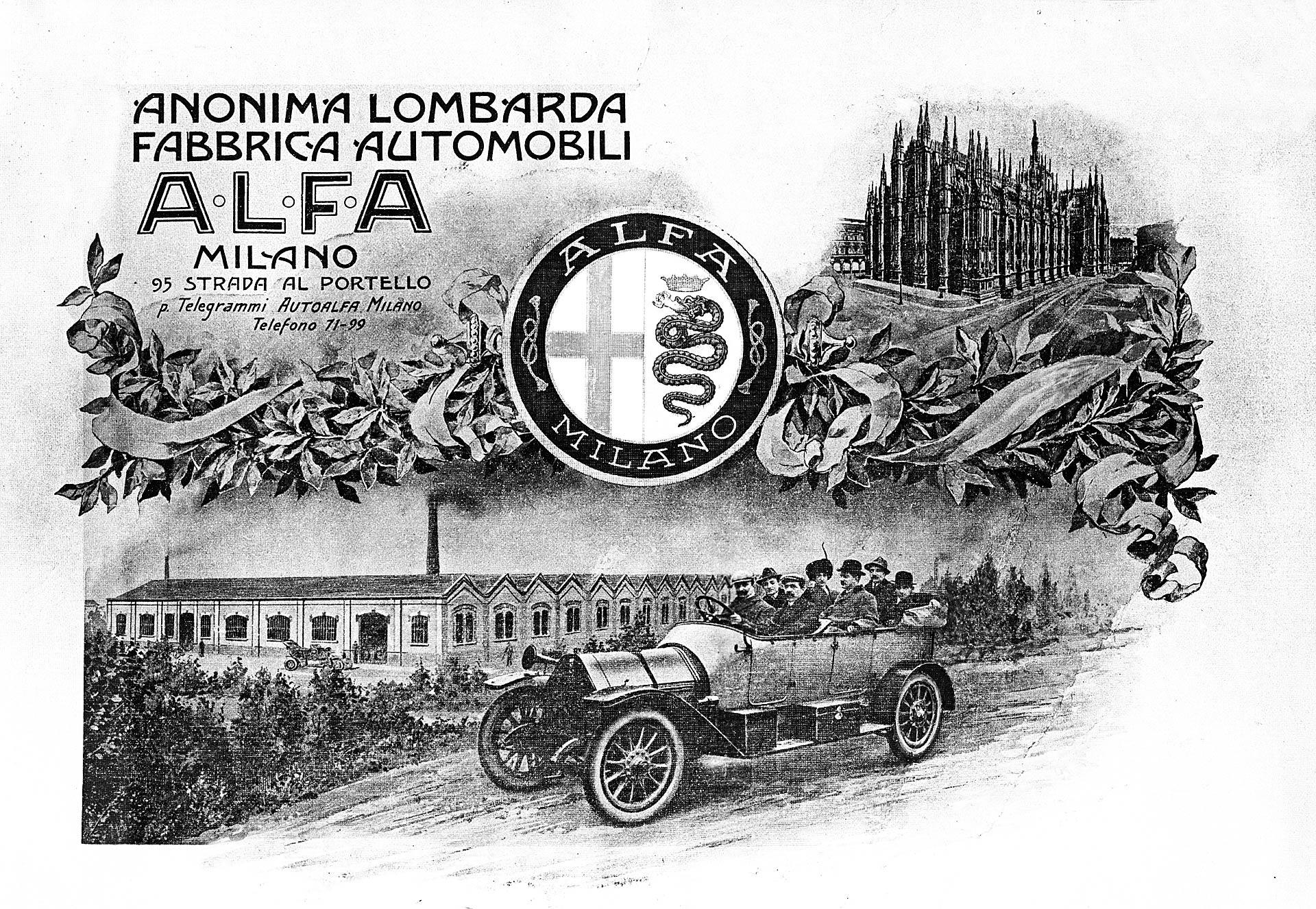 Cartolina che mostra l' Anonima Lombarda Fabbrica Automobili