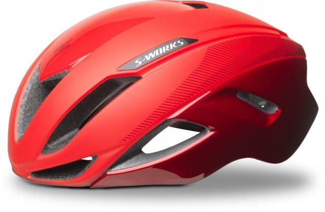 casco da bici specialized s-works evade colore rosso, vista laterale