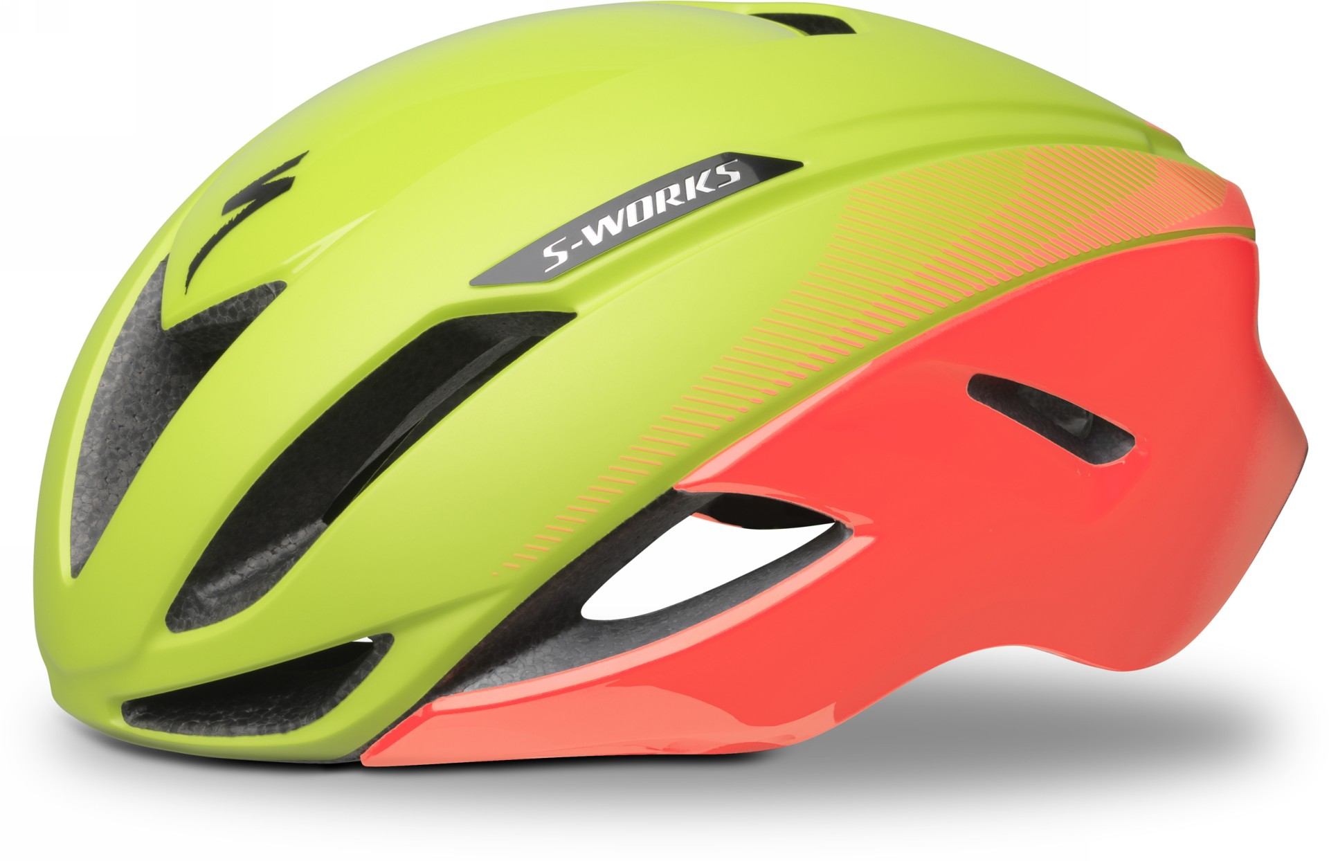 casco da bici specialized s-works evade colore acid lava, vista laterale