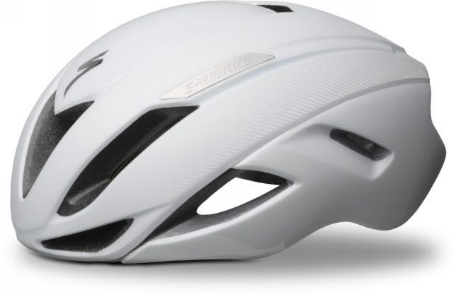 casco da bici specialized s-works evade colore bianco, vista laterale