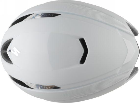 casco da bici specialized s-works evade colore bianco, vista superiore