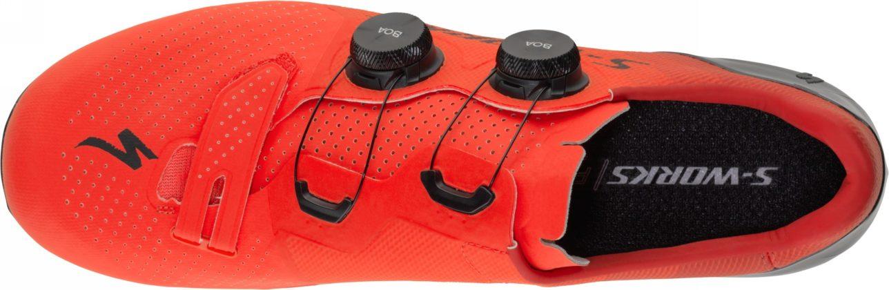 scarpe da bici specialized s-works 7, colore rosso, vista superiore