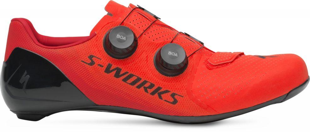 scarpe da bici specialized s-works 7, colore rosso, vista laterale