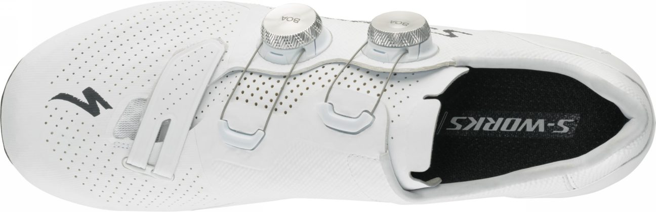 scarpe da bici specialized s-works 7, colore bianco, vista superiore