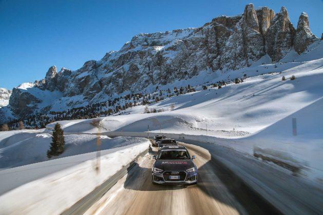 Audi RS4 2018 20Quattro Ore delle Alpi Camera car strada ghiacciata