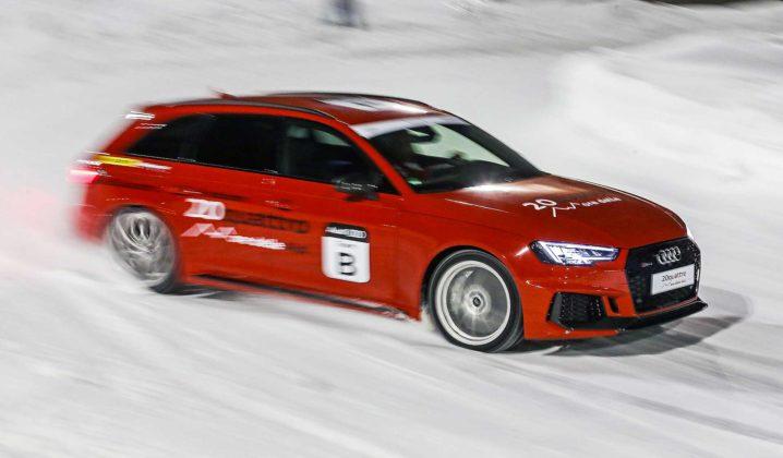 Audi RS4 2018 20Quattro Ore delle Alpi derapata ghiaccio auto rossa