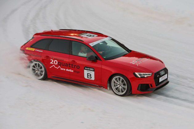 Audi RS4 2018 20Quattro Ore delle Alpi sbandata su ghiaccio
