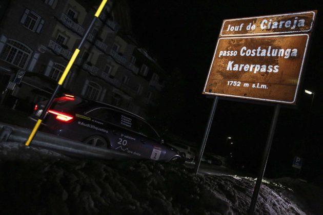 Audi RS4 2018 20Quattro Ore delle Alpi passaggio passo costalunga di notte