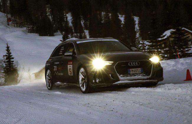 Audi RS4 2018 20Quattro Ore delle Alpi passaggio su neve