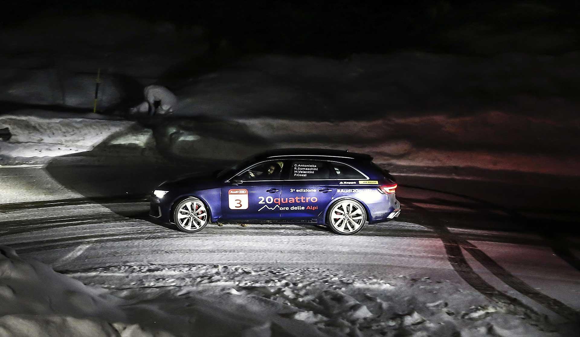Audi RS4 2018 20Quattro Ore delle Alpi tornante alpino di notte con neve