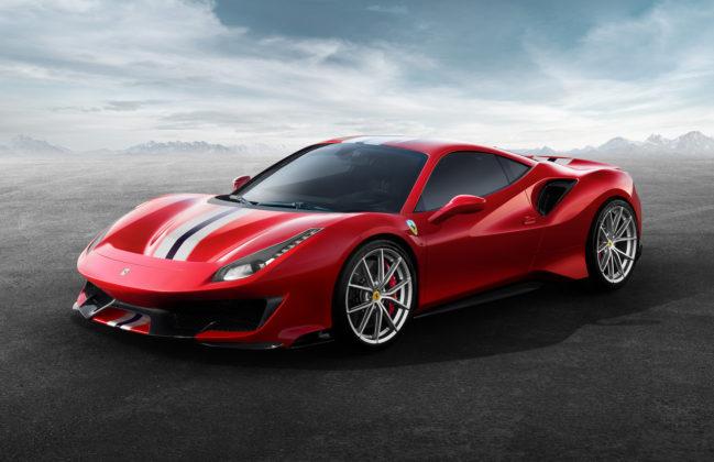 Ferrari 488 pista rossa 3/4 laterale anteriore sinistra statica