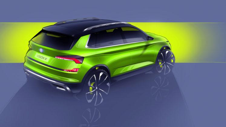 Skoda Vision X verde 3/4 laterale posteriore destra statica