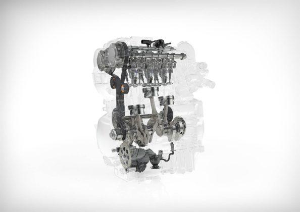 1.5 3 cilindri Volvo in trasparenza con componenti principali in evidenza
