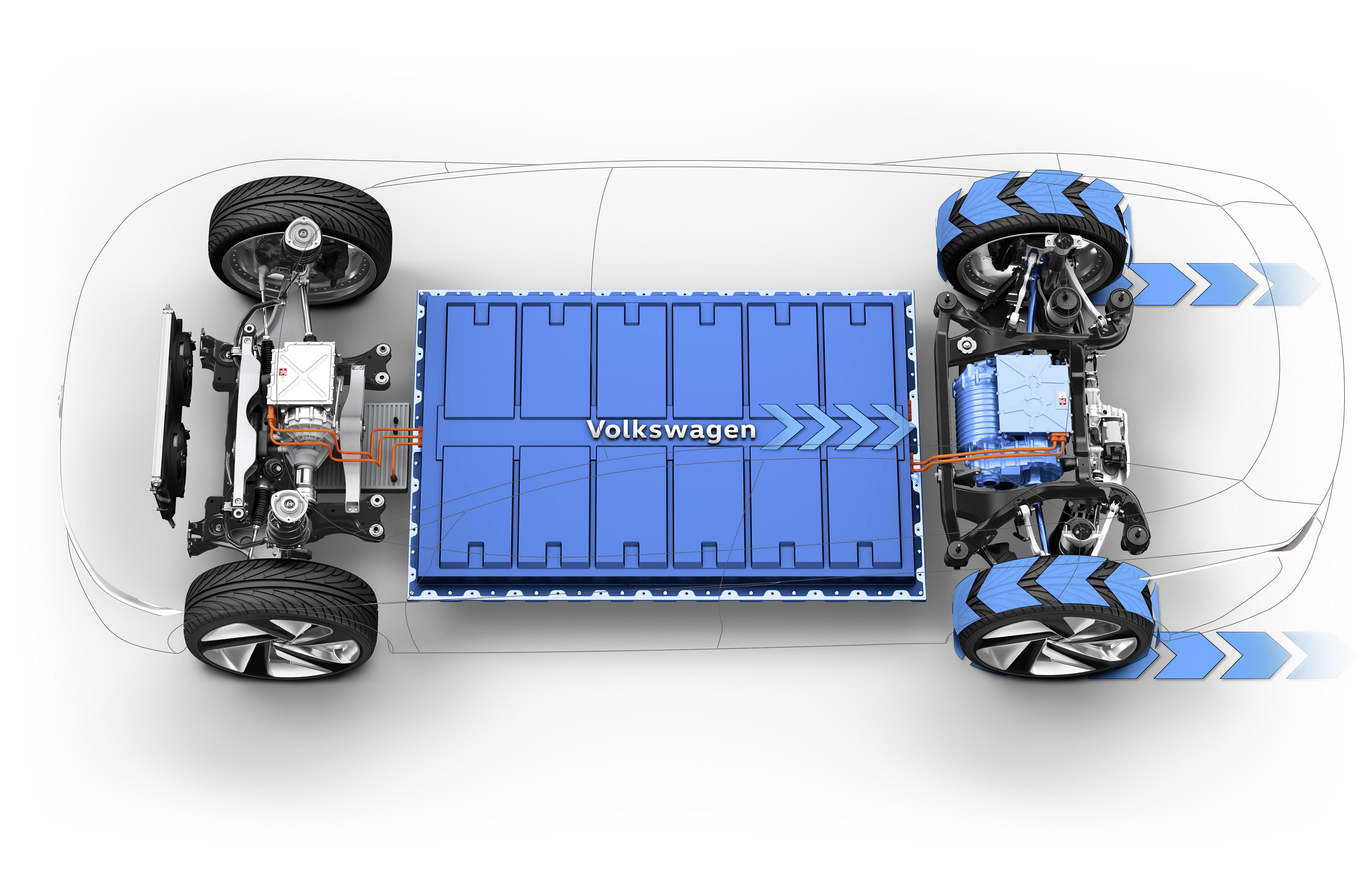 volkswagen i.d. vizzion batterie pianale disegno tecnico