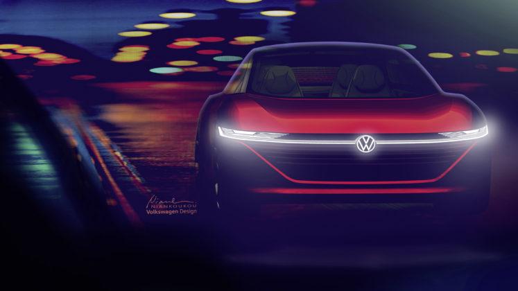 Volkswagen ID Vizzion frontale statica al buio con luci a LED accese