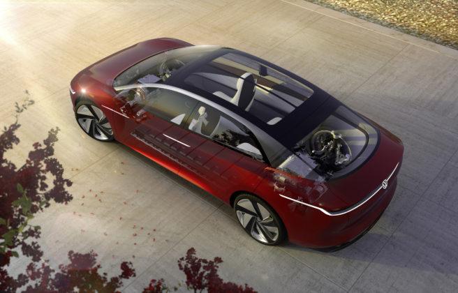 Volkswagen ID Vizzion 3/4 laterale posteriore sinistra dall'alto statica
