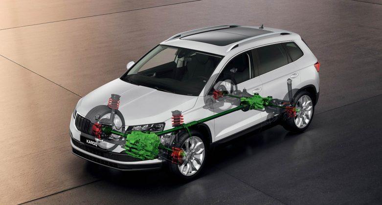 Schema in trasparenza della Škoda Karoq a trazione integrale