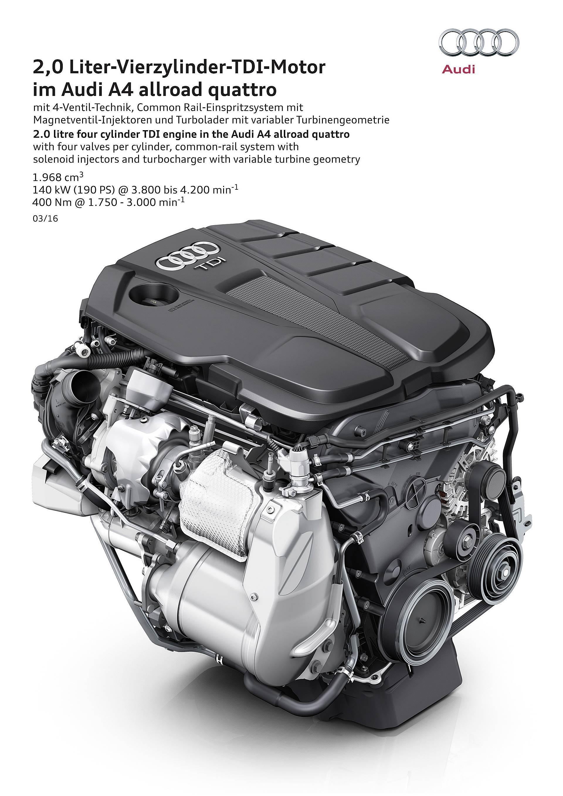 Audi A4 allroad quattro motore 2.0 TDI da 190 cavalli Diesel