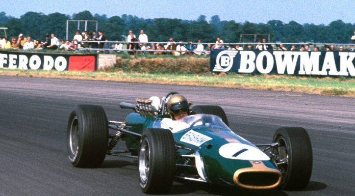 Jack Brabham racing the Brabham BT24 during the British Grand Prix at Silverstone 1966