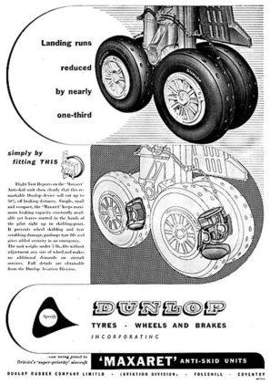 Sistema ABS Dunlop Maxaret: pubblicità del tempo dell'ABS in campo aeronautico