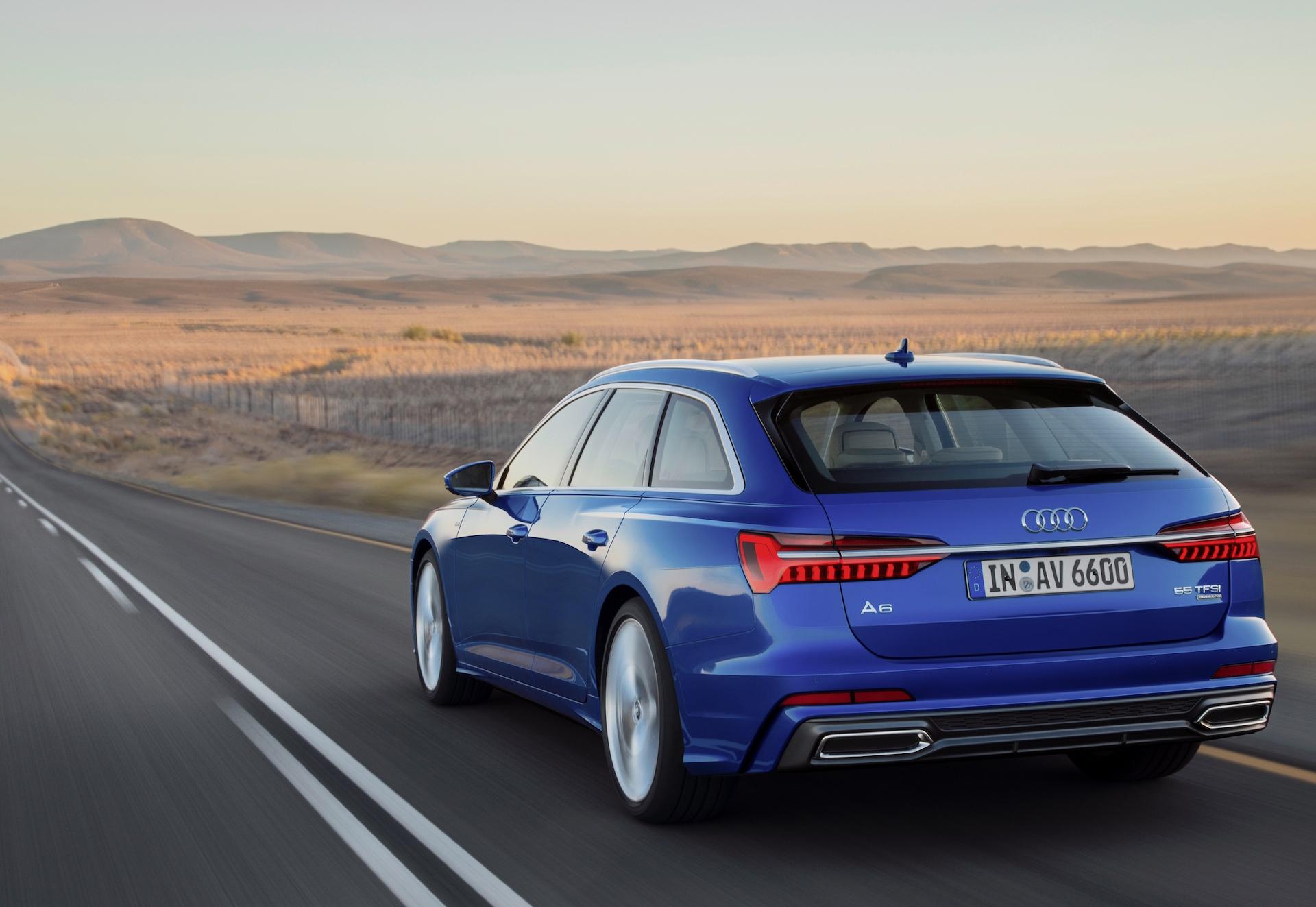 nuova audi a6 avant blu posteriore panorama