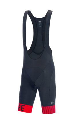 GORE® C5 Optiline Bib Shorts+ blu scuro e rosso frontale