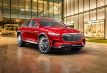Vision Mercedes-Maybach Ultimate Luxury 3/4 laterale anteriore destra rossa statica