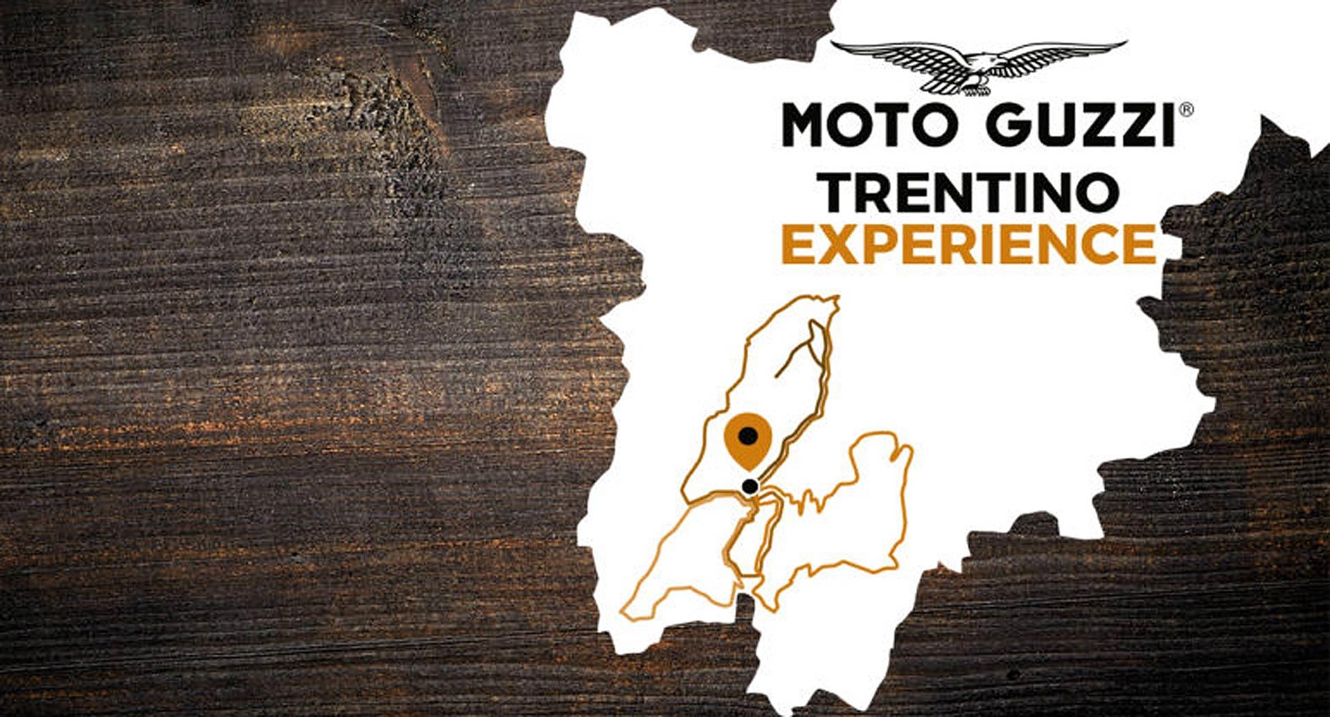 La locandina con mappa della Moto Guzzi Experience Trentino
