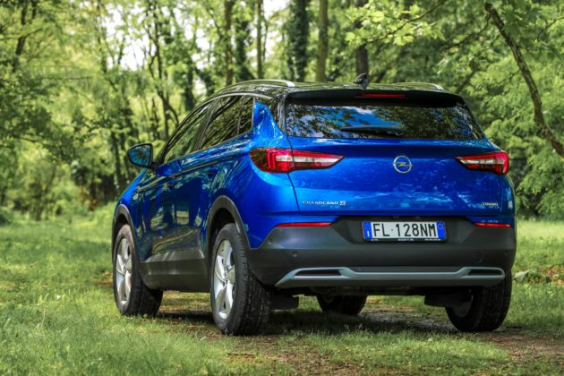 Opel Grandland X blu 3/4 laterale posteriore sinistra statica nel bosco