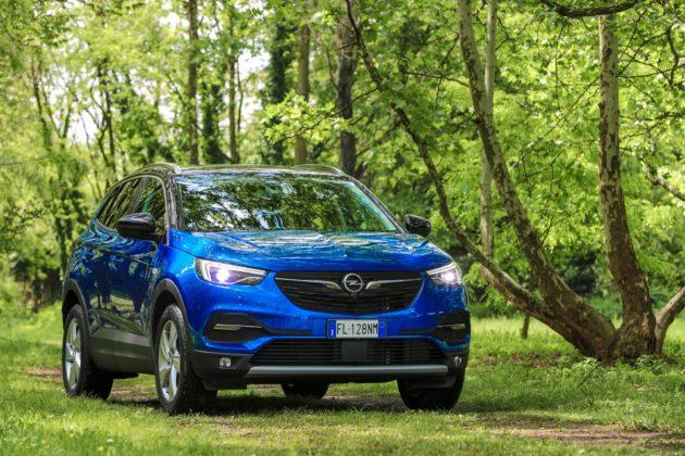 Opel Grandland X blu 3/4 laterale anteriore destra statica nel bosco