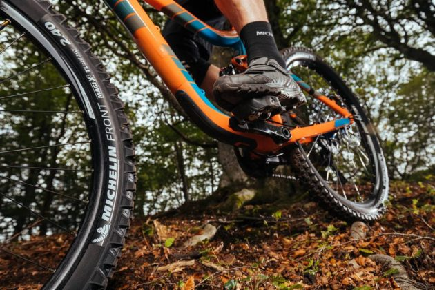 Michelin Wild Enduro su bici su foglie in movimento