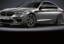 BMW M5 competition 3/4 laterale anteriore sinistra statica grigia