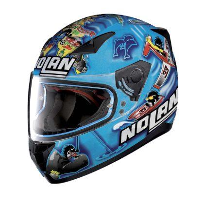 casco Nolan laterale blu mare Napoli Melandri