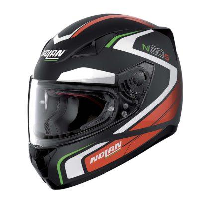 casco Nolan laterale tricolore verde bianco rosso e nero