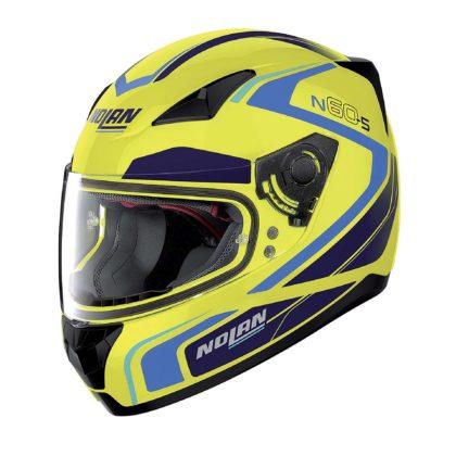 casco Nolan laterale giallo blu e nero