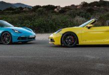 Porsche 718 Boxster GTS e Cayman GTS laterale statico
