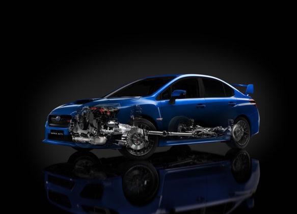 Subaru Impreza 3/4 laterale con ricostruzione motore blu