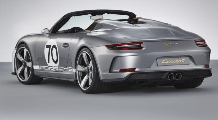 Porsche 911 Speedster Concept 3/4 laterale posteriore sinistra statica in studio