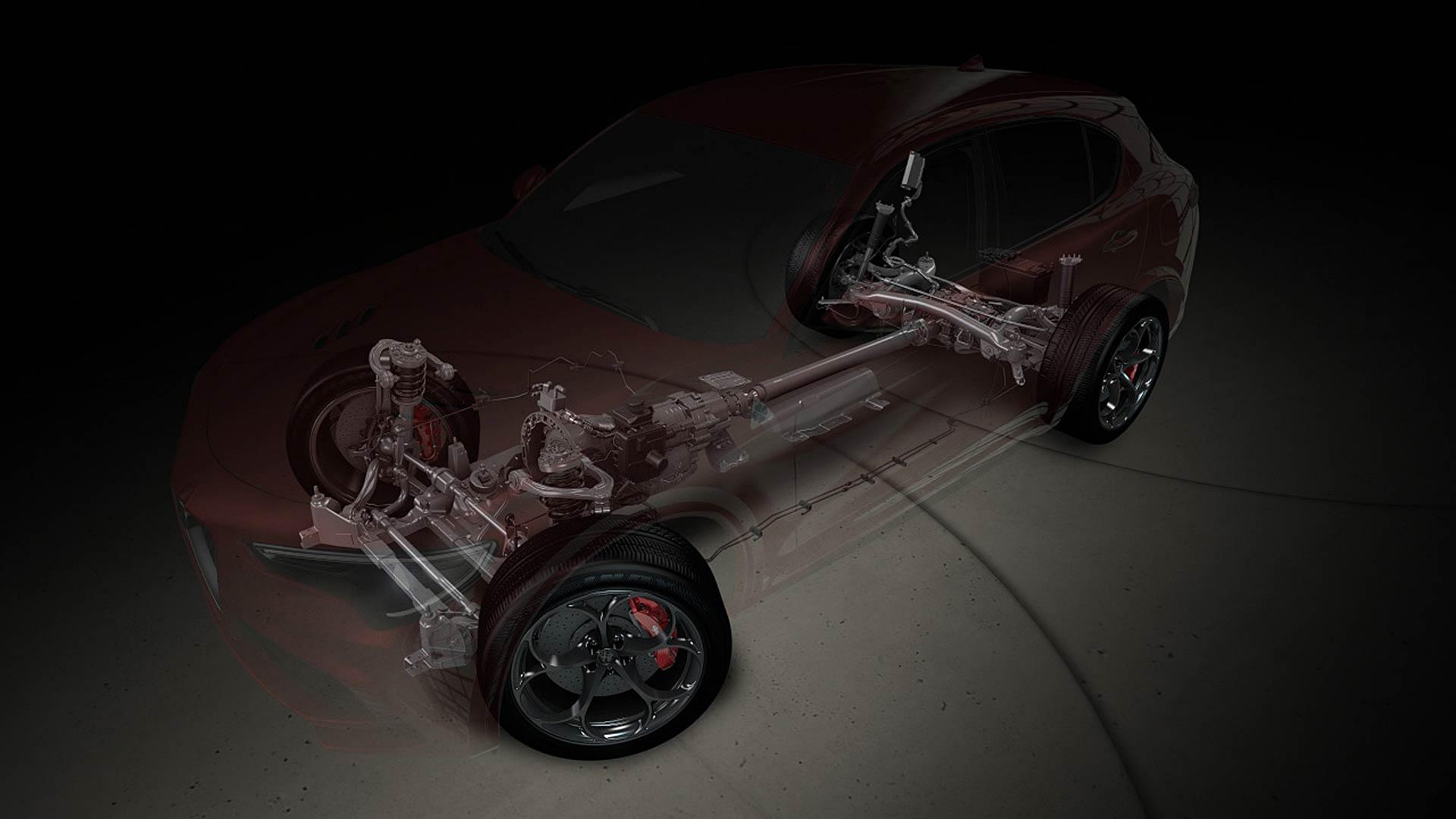 Schema in trasparenza della Alfa Romeo Stelvio con motore, cambio e differenziali