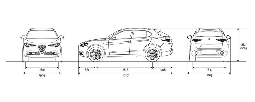 Dimensioni su schema del corpo vettura della Alfa Romeo Stelvio